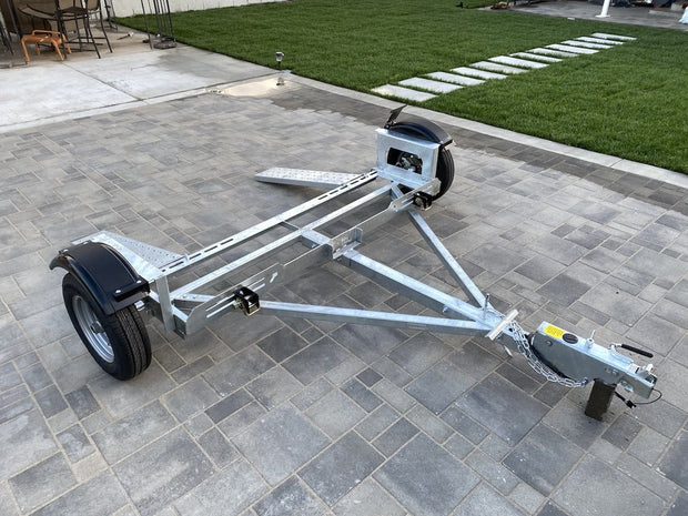 Side view of Heavy duty car tow dolly for RV the best RV tow dolly galvanized dollies tow dolly - Brand new 10 ply e rated tires included