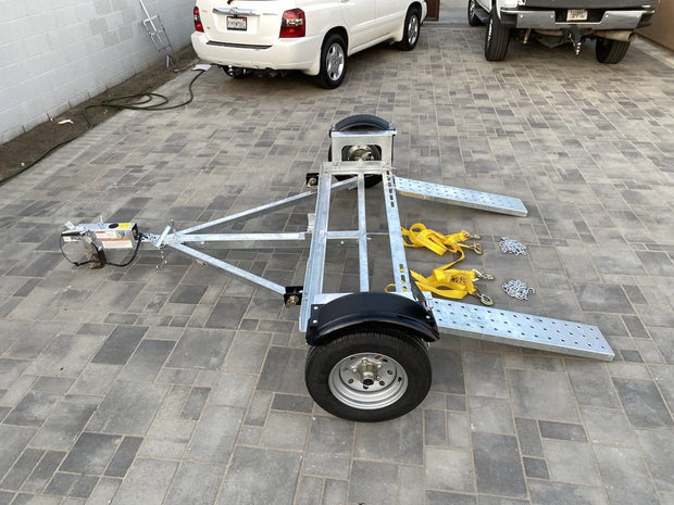 Side view of car tow dolly with disc brakes stand up car tow dolly brand new car hauler tow dolly