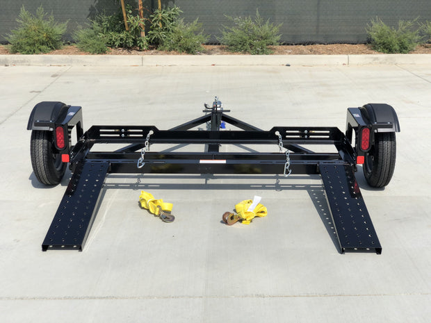 Car Dolly with straps stands for storage