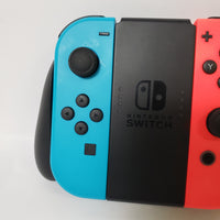 NINTENDO SWITCH JOY CON CONTROLLERS NEON BLUE LEFT NEON RED RIGHT PAIR SET W/ GRIP