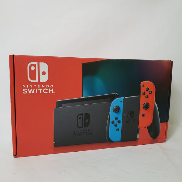 NINTENDO SWITCH CONSOLE HAC-001(-01) V2 NEON RED & BLUE JOY-CONS IN BOX