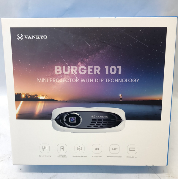 New VANKYO RD-606 Burger 101 Projector Rechargeable DLP Wireless Mini Projector