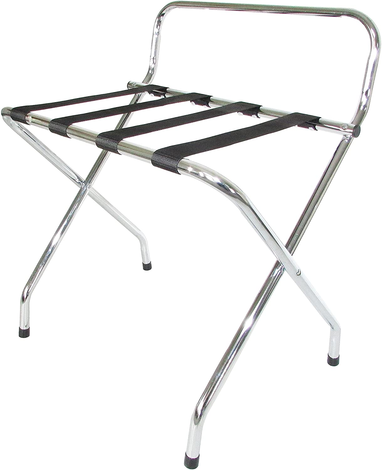 Ashton Metal Luggage Rack With Back Black/Chrome
