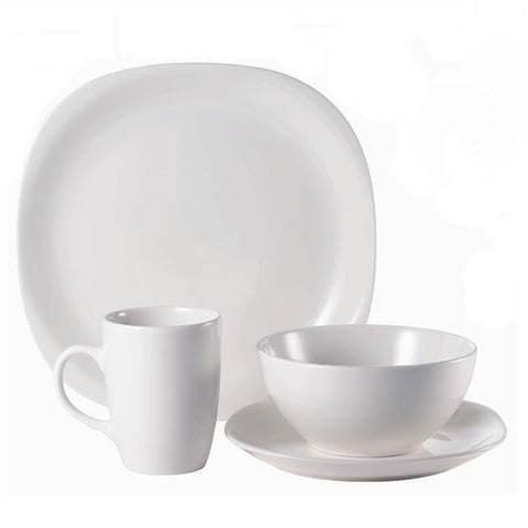 Dinner Set Stoneware Quadro White 16pc