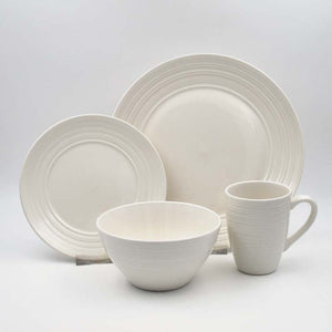 Dinner Set Stoneware Ripple Stone 16pc