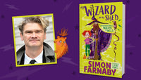 Simon Farnaby with his book The Wizard in My Shed book signing