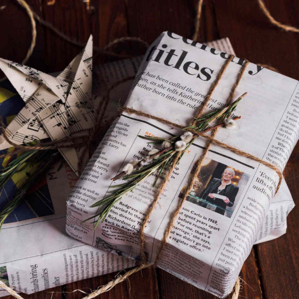 Presents nicely wrapped in newspaper