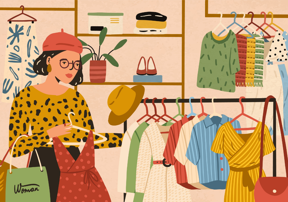 Stylish female choosing clothes in boutique vector flat illustration.
