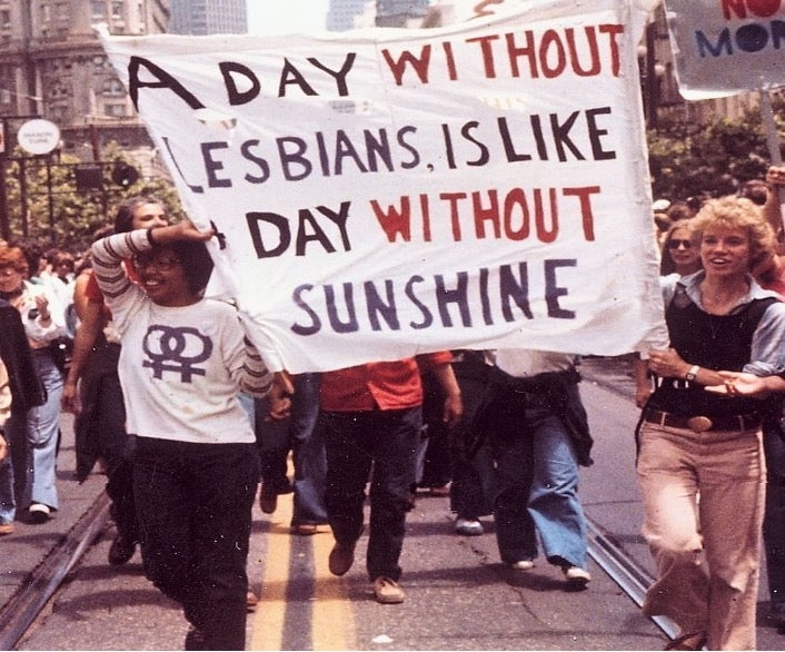 "Placard reading ""a day without lesbians is like a day without sunshine"""