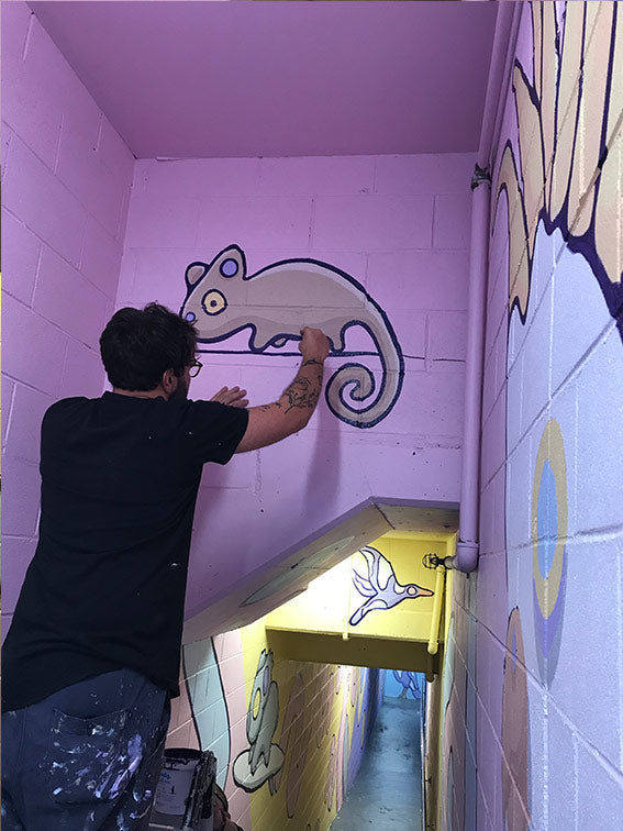 manly mural painting process