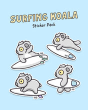 Load image into Gallery viewer, Surfing Koala Sticker Pack
