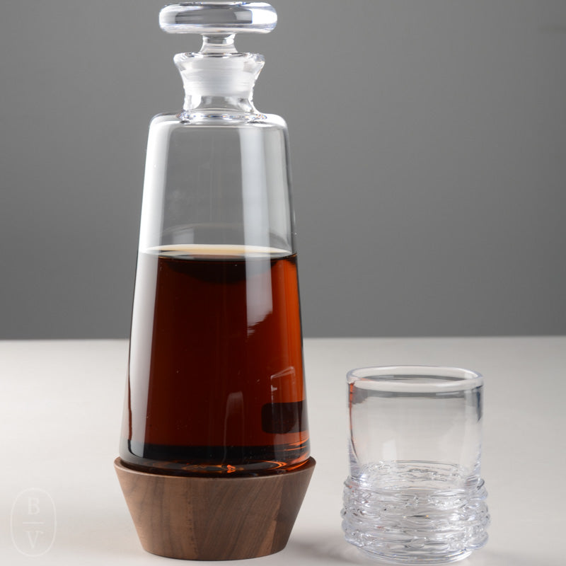 LUDLOW WHISKEY DECANTER WITH WOOD BASE