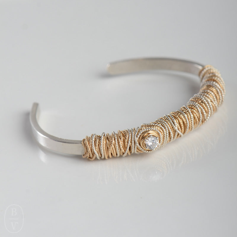 THIN HAMMERED CRYSTAL CUFF BRACELET - B160145