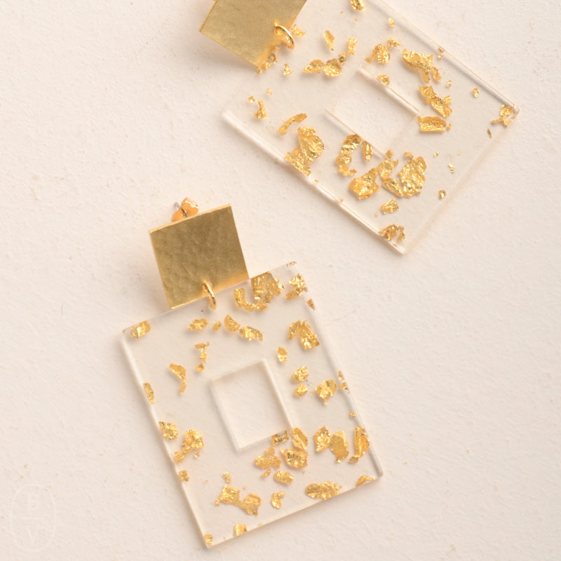 GOLD SQUARE POST ACRYLIC RECTANGLE EARRINGS