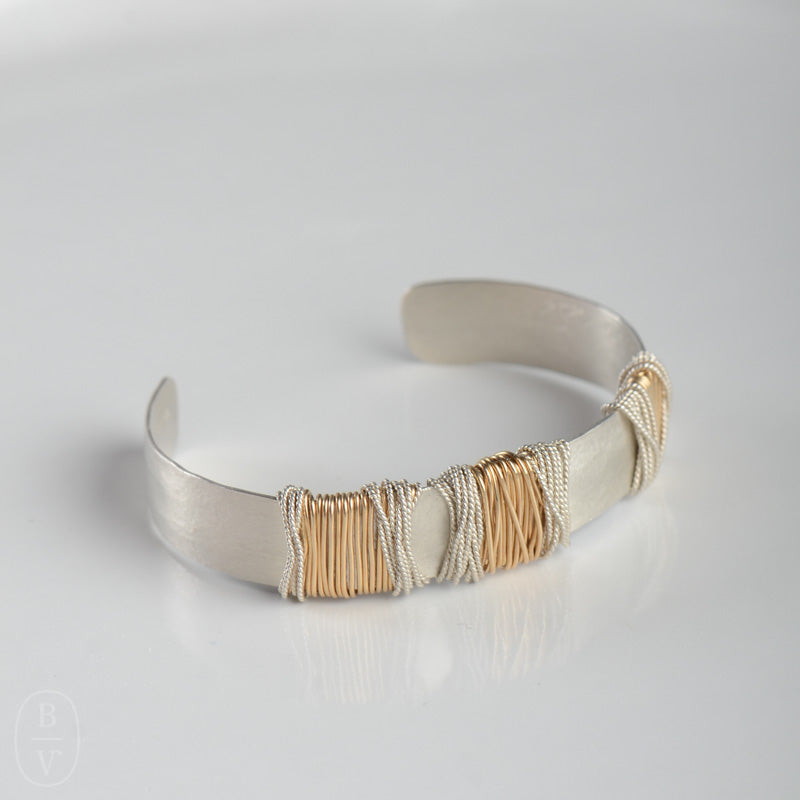 WIDE HAMMERED WRAPPED CUFF BRACELET - B389175