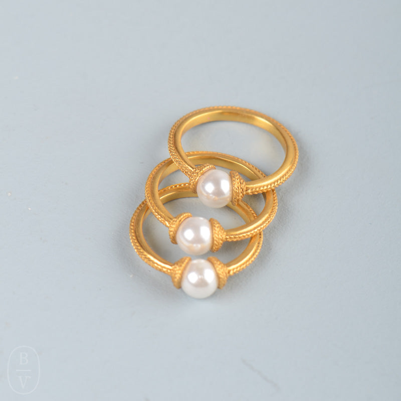 CALYPSO PEARL STACKING RING SET OF 3