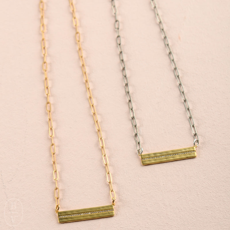 GOLD RHINESTONE BAR PAPERCLIP CHAIN NECKLACE