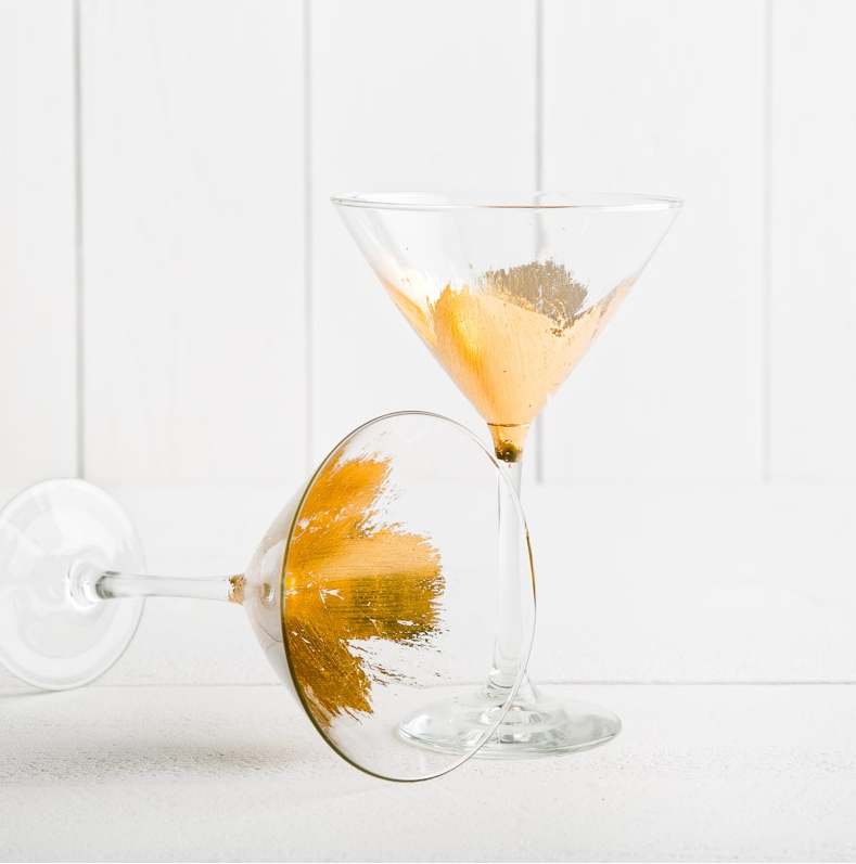 HAND PAINTED GOLD LEAF STEMMED MARTINI GLASS