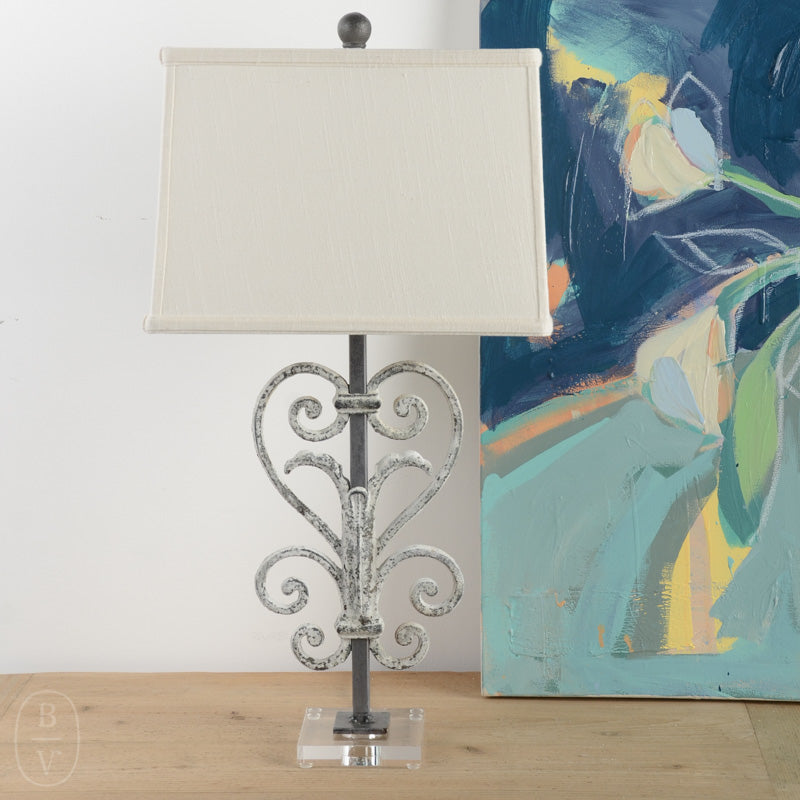 IRON HEART SCROLL LAMP WITH ACRYLIC BASE