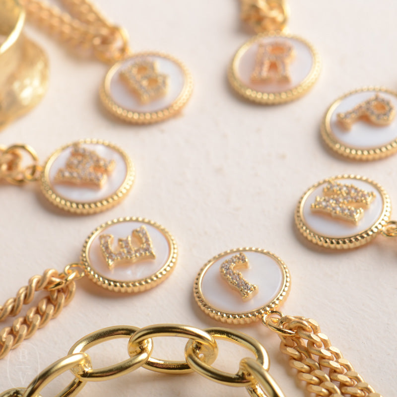 GOLD SMALL CURB CHAIN MONOGRAM NECKLACE