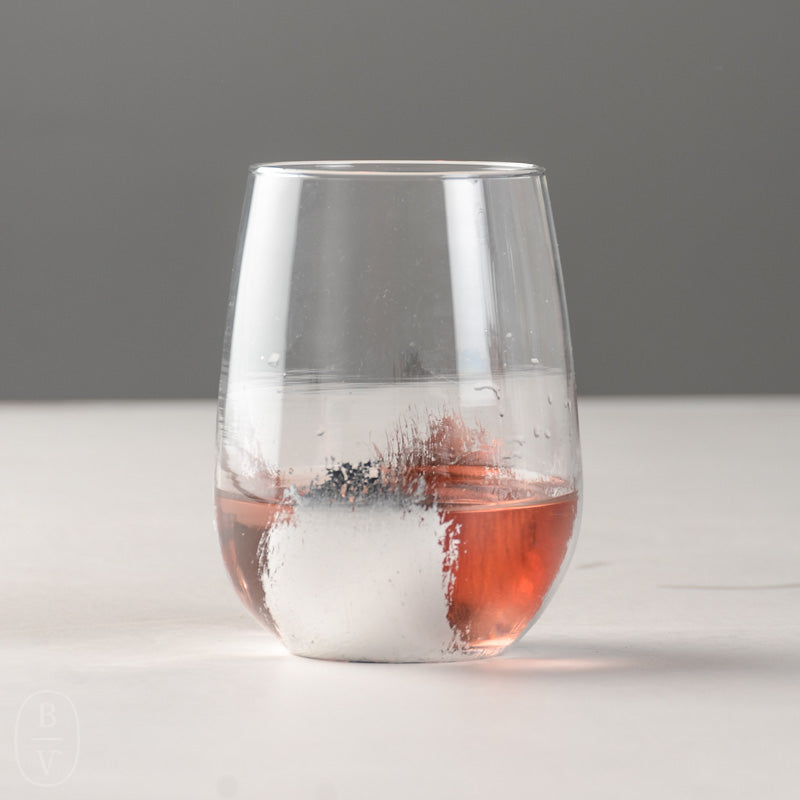HAND PAINTED SILVER LEAF STEMLESS WINE GLASS