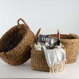 OVAL HANDWOVEN SEAGRASS BASKET WITH HANDLES