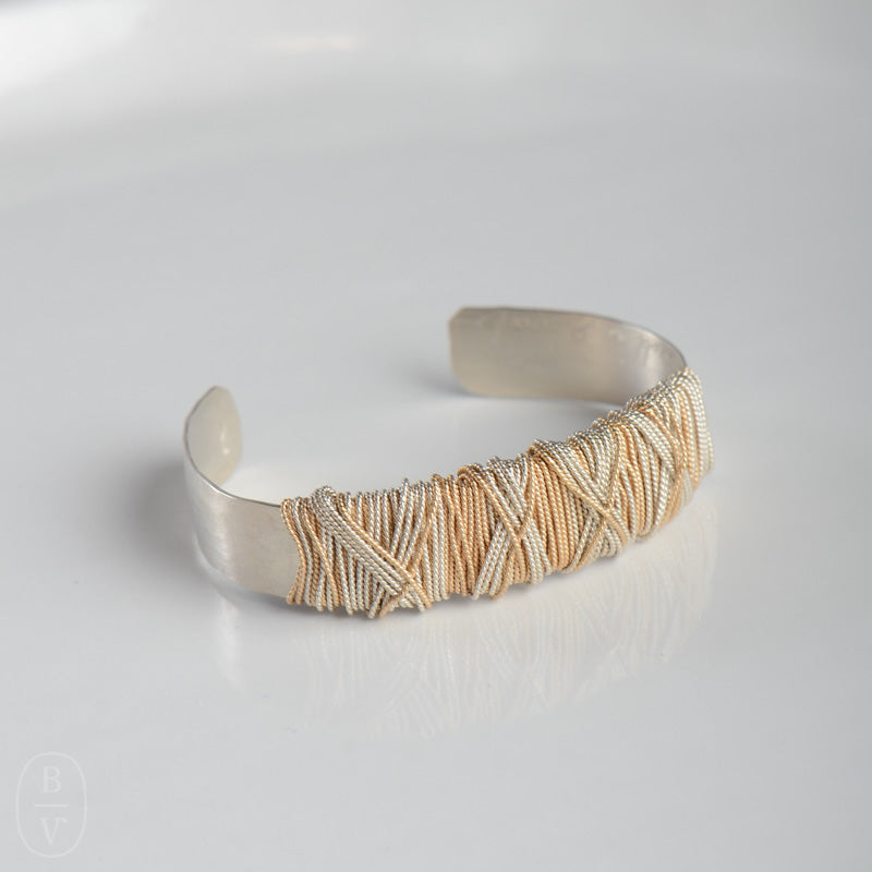 WIDE HAMMERED WRAPPED CUFF BRACELET - B390250
