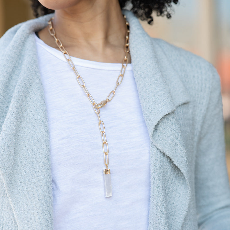 XL PAPERCLIP CHAIN SELENITE DROP NECKLACE