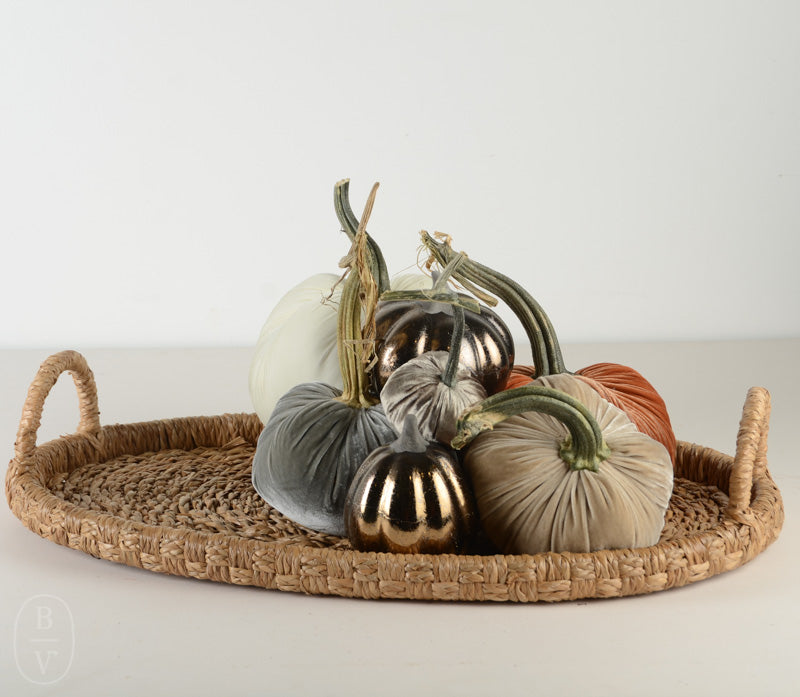 OVAL HAND WOVEN SEAGRASS RATTAN TRAY WITH HANDLES