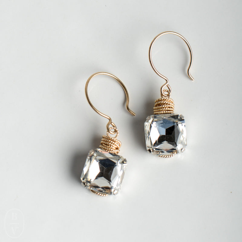 SQUARE CRYSTAL PENDANT EARRINGS - C61654