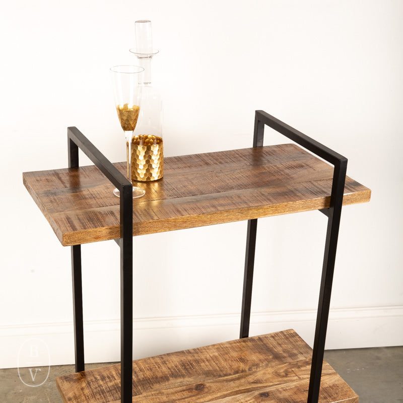 METAL MANGO WOOD TWO TIER CART