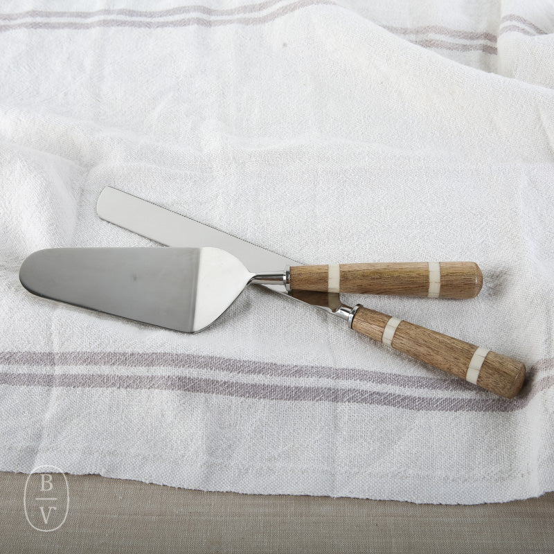 WOOD HORN CAKE KNIFE/SERVER SET OF 2