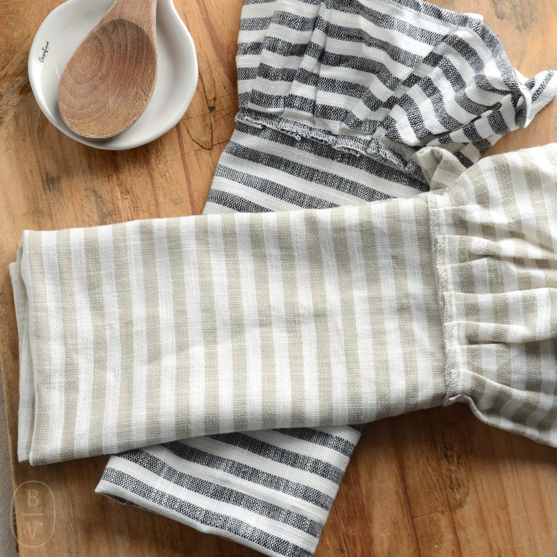 RUFFLE STRIPED COTTON TEA TOWEL