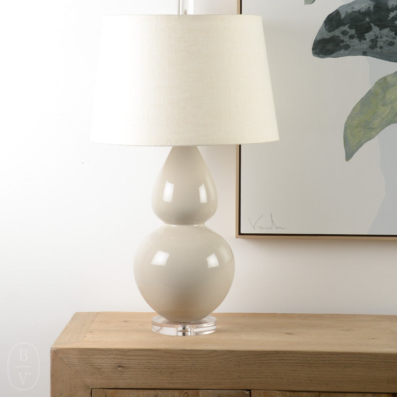 CURVED CERAMIC BODY ACRYLIC BASE LAMP