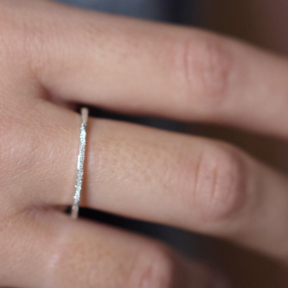 DIAMOND DUSTED PETITE STACKER RING