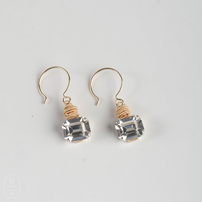 SQUARE CRYSTAL PENDANT EARRINGS - C62349