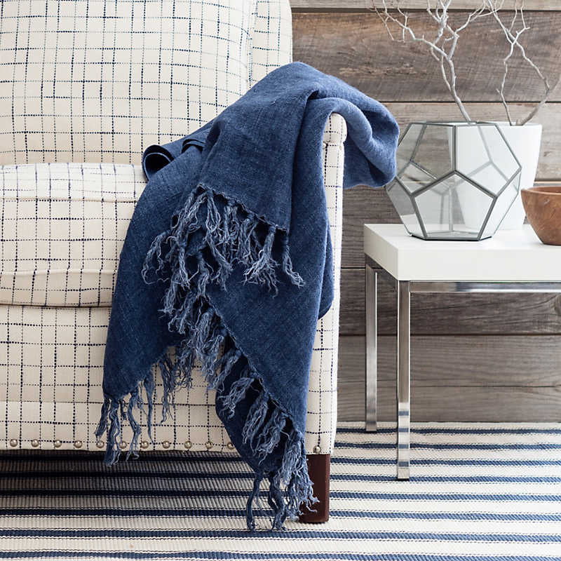 LAUNDERED LINEN THROW BLANKET