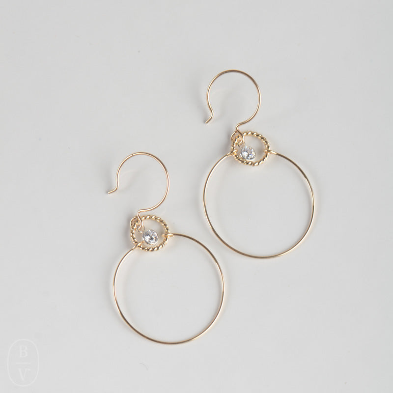 GOLD DROP HOOP EARRINGS - EG35239