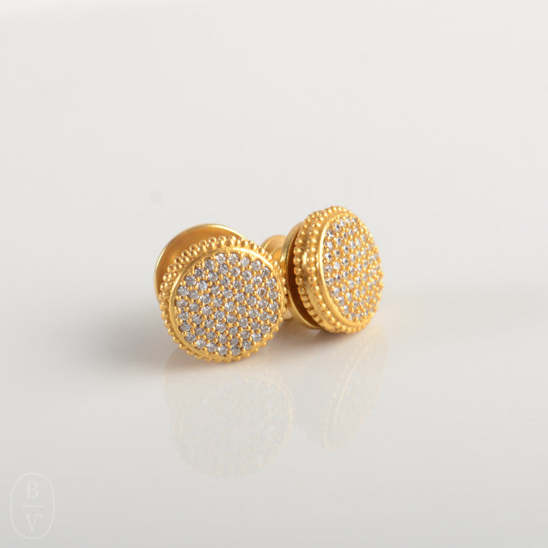 FLEUR DE LIS GOLD PAVÉ STUD EARRINGS