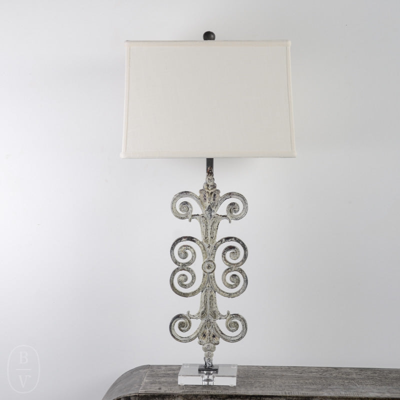 IRON FLEUR SCROLL LAMP WITH ACRYLIC BASE