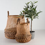 ROUND HANDWOVEN BAMBOO BASKET