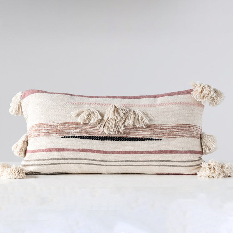 COTTON KILM LUMBAR PILLOW WITH WOVEN FRINGE AND TASSELS