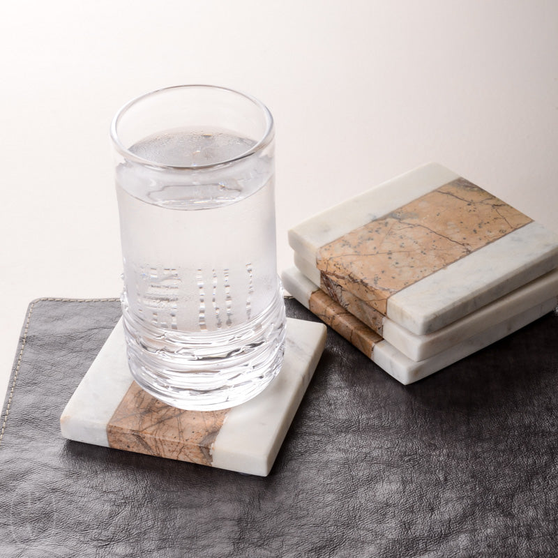 SQUARE STRIPED MARBLE COASTER SET OF 4