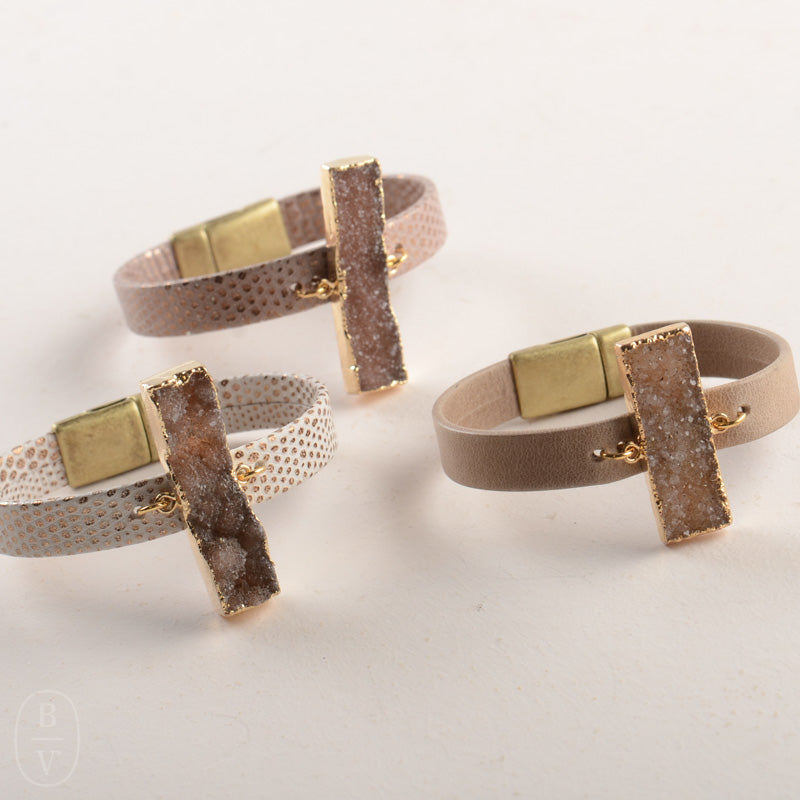 GEOMETRIC NEUTRAL DRUZY ITALIAN LEATHER CUFF