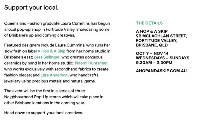 Pop up event listing on Fashion Journal