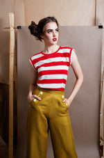 Linen wide leg pants in mustard colour way