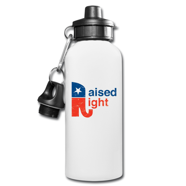 Raised Right Water Bottle - white