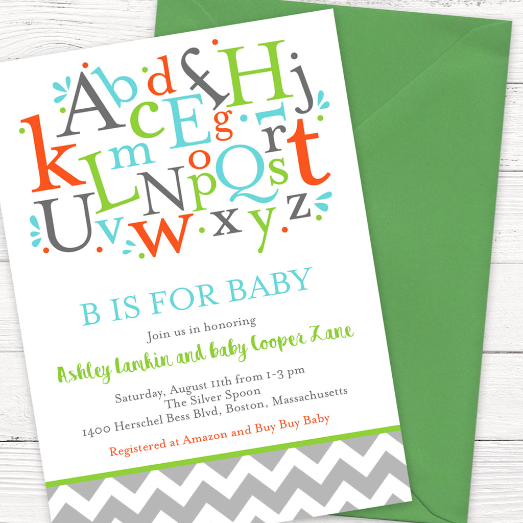 B is for Baby | Free Printable Baby Shower Invitation