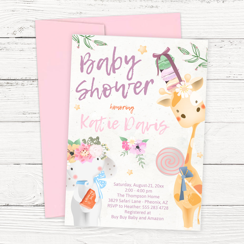 Free Baby Safari Animals Baby Shower Invitation