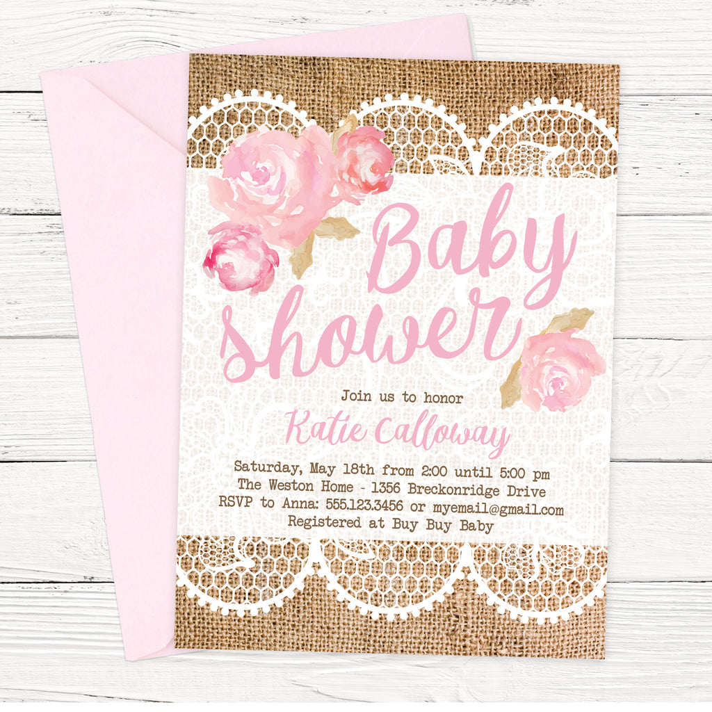 FREE Shabby Chic Baby Shower Invitation